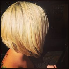 Highlighted bright blonde graduated bob