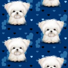 Maltese royal blue and hearts fabric by catiacho on Spoonflower - custom fabric