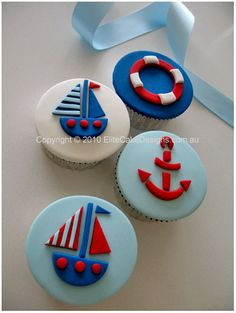 Sailing Boat Theme Cupcakes, Birthday cupcakes, kids Cupcakes, Christening Cupcakes designed by EliteCakeDesigns Sydney