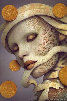 """""""Soul Streaming"""" - Naoto Hattori, 2012 acrylic on board {contemporary abstract fantasy figurative female head woman face portrait painting #noveltechnique} wwwcomcom.com"""