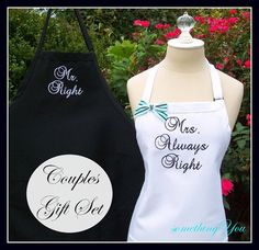 Always Right Wedding As Gift Set S His And Hers Custom Colors Engagement Gifts