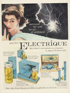 Max Factor Electrique Perfume Ad Couple Lightning Storm Photo 1950s Vintage Fragrance Christmas Gift Set Advertising Bathroom Wall Art by AdVintageCom on Etsy https://www.etsy.com/listing/246536484/max-factor-electrique-perfume-ad-couple