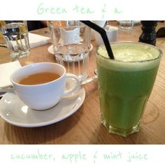My rather green choice of beverages... at Tom's Kitchen, Canary Wharf