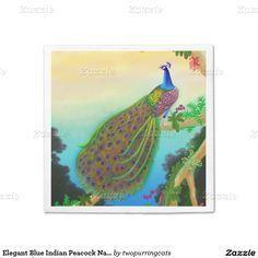 Elegant Blue Indian Peacock Napkins Standard Cocktail Napkin