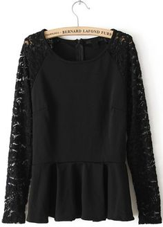 Black Contrast Lace Long Sleeve Pleated Blouse