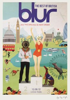 blur, poster, design, olympic, gig, swimmers, leisure, think tank, london, music, illustration, park life,