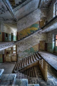 [It's like looking into an elaborate doll house.] 33 Amazingly Beautiful Abandoned Buildings These places are haunting, sad, forgotten, but mystical gems that shine in my eyes: Old Buildings, Abandoned Buildings, Abandoned Places, Abandoned Property, Abandoned Mansions, Stairway To Heaven, Haunted Places, Stairways, Old Houses