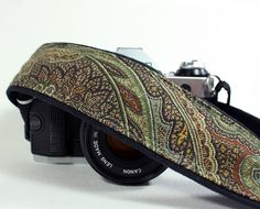 Woodland Paisley Camera Strap, Green, Brown, Gold, dSLR or SLR,OOAK. $25.00, via Etsy.