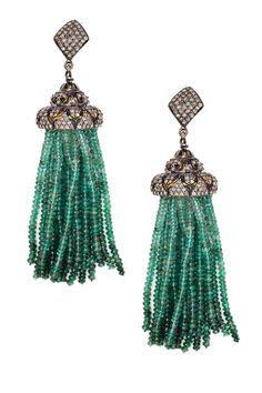 Jewels By Lori K Pave Diamond Deco Emerald Tassel Earrings on HauteLook