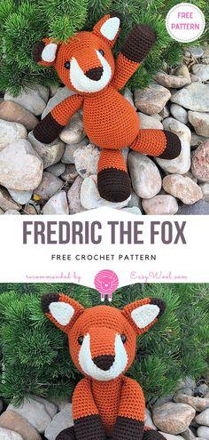 Fredric the Fox Free Crochet Pattern on easywool.com #freecrochetPatterns #amigurumiowl #freepattern #crochetfreepatternforbaby #crochetbabyblanket #crochetstitch #crochettoy #cat #blankie #bear #grannystitch #lovey #kitty #mobile #softie #amigurumi #unicorn #fox