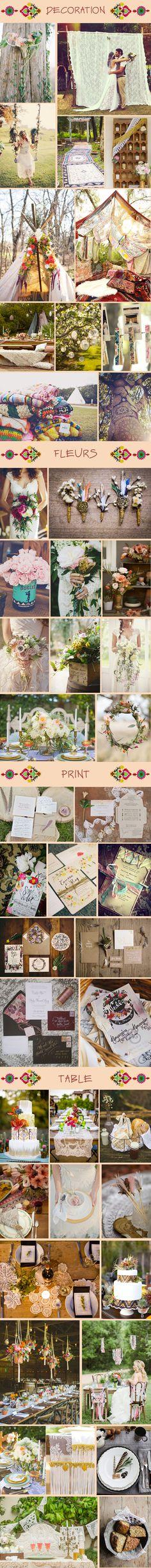 Bohemian party. De la dentelle, des fleurs, ... une décoration bucolique et romantique .