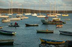 Mollymawk (far right) anchored in Palmeira, Sal