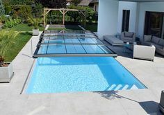 Scratch-resistant pool cover made of real glass - Made in Austria There are many issues Swimming Pool Enclosures, Natural Swimming Ponds, Swimming Pools Backyard, Swimming Pool Designs, Pool Spa, Pool Landscaping, Backyard Pool Designs, Small Backyard Pools, Backyard Patio