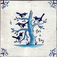 """umbra-tile-fourforaboy. Paul Bommer faux Delft tile. """"Three for a girl and four for a..."""" copyright © Paul Bommer"""