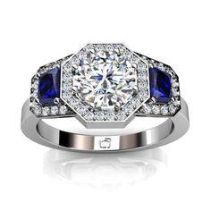 Three Stone Octagonal Halo Diamond Engagement Ring with Sapphire Sidestones.