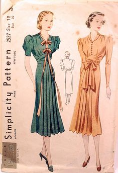https://flic.kr/p/7YpPgQ | 1930s vintage sewing pattern | A 1930s Simplicity vintage dress sewing pattern with a ribbon bow and pleating detail.