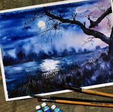 Image result for landscape drawings with water colors
