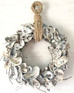 "18 ""Oyster Shell Wreath, Oyster Wreath, Oyster Decor, Nautic … – Home Decor Coastal Wreath, Nautical Wreath, Seashell Wreath, Seashell Art, Seashell Crafts, Beach Crafts, Coastal Decor, Beach Wreaths, Oyster Shell Crafts"