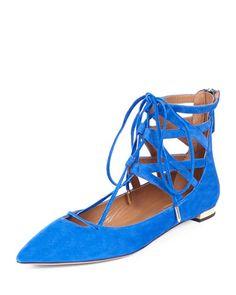 S0A2L Aquazzura Belgravia Caged Suede Lace-Up Flat, Royal Blue