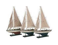 Conjunto de 3 veleros decorativos