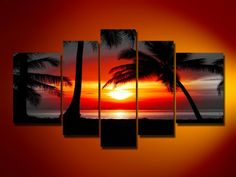 Neonphoenix Christmas Holiday Gift 100% Hand Painted Fashion Style Sunlight Shinning in Coconut Tree Modern Canvas Oil Paintings 5-pieces Abstract Landscape for Living Room Home Decoration Neonphoenix