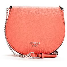GUESS Cate Saddle Cross-Body ($45) ❤ liked on Polyvore featuring bags, handbags, shoulder bags, tomato, red purse, red cross body purse, red crossbody purse, guess purses and red shoulder bag