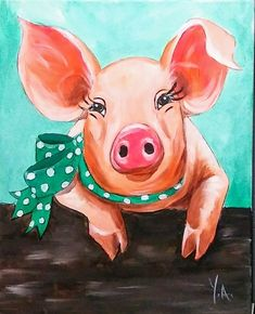 Yvette Andino Art pig painting, prized piggy 20x16 unframed farm animal #Expressionism