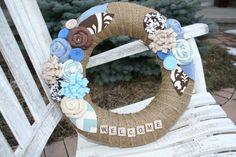 Burlap Wreath/Scrabble Letters/Everyday/Felt by LizzyDesigns, $45.00