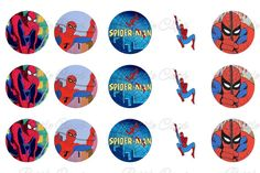 Spiderman Spider Man Bottle Cap Images 1 Inch Digital Collage - Instant Download $1.55  #BottleCapsByEli