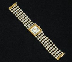 Authentic Chanel Mademoiselle Pearl & 18k Gold Watch