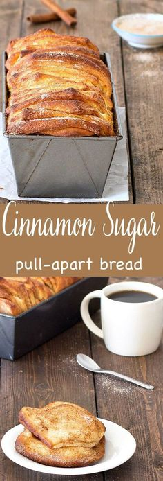 Start your morning with a piping hot cup of coffee and one or two slices of this easy cinnamon sugar pull-apart bread. It's so delicious - soft and fluffy on the inside, golden-brown and crunchy on the outside. by graciela Köstliche Desserts, Delicious Desserts, Dessert Recipes, Yummy Food, Health Desserts, Bon Dessert, Dessert Bread, Sweet Bread, Golden Brown