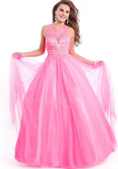 Floor Length Tulle Jewel Ball Gown Sleeveless Natural Waist Prom Gowns