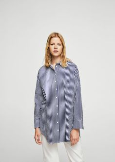Oversized-hemd mit streifen | MANGO