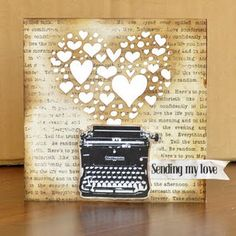 layout, cut various size hearts, in silh studio, use typed paper for background