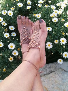 Brown Barefoot Sandals with beads Nude shoes by ArtofAccessory, $15.00