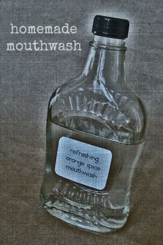 Homemade Mouthwash: 1 c distilled, filtered or boiled water, 2-8 drops essential oils. Mix together in clean container, shake before each use, do not swallow. Store in dark cupboard or medicine cabinet (see website for additional info) Found on Our Homemade Happiness