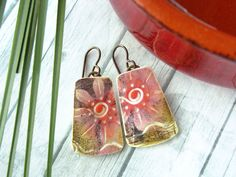 Polymer Clay Earrings Jewelry featuring a Flower Design in Pink, Magenta, Brown…