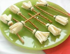 Cheese and Pretzel Broomsticks plus lots of other fun and healthy Halloween food ideas.