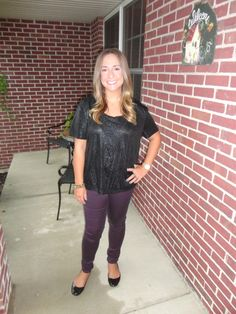 black top (H) purple pants (Express)