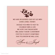 bridal shower gift registry insert wording - Google Search