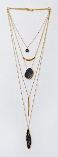 black + gold layered chains | kei jewelry
