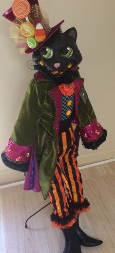 """Katherine's Collection Retired Halloween 60"""" Life Size Black Cat Doll Ed 