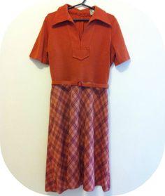 Vestido laranja xadrez vintage - Tamanho 48 R$38.00
