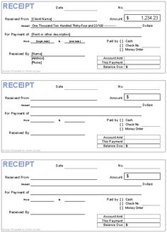 Free Receipt Template | Rent Receipt And Cash Receipt Forms   Receipt Form  Printable Rent Receipts