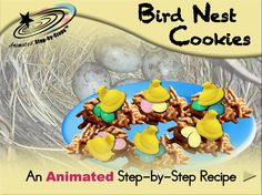 Bird Nest Cookies - Animated Step-by-Step Recipe  Available in 3 formats: Regular, SymbolStix, PCS