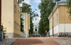 Vahtivuorenkatu leading to Cathedral main door in Kuopio. Mekka, Hidden Garden, Main Door, Pedestrian, Lake District, Homeland, Finland, Maine, Cathedral