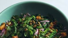 Mustard Greens and Roasted Sweet Potatoes with Maple Vinaigrette