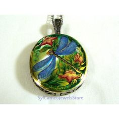 Blue Dragonfly Hand Painted Cameo Pendant 925 Sterling Silver Mother... ($85) ❤ liked on Polyvore featuring jewelry, pendants, gem pendants, cameo pendant, mother of pearl jewelry, pendant jewelry and gem jewelry