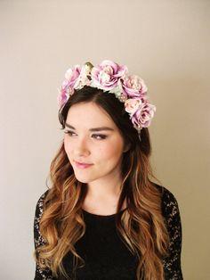 Woodland Roses - Lavender floral headband, floral crown, flower crown, floral wreath, fascinator, festival crown, Bridal, Wedding hair piece...