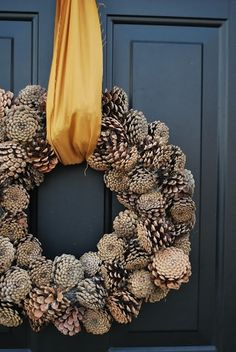 cute pinecone wreath - just hot glue pine cones to a styrofoam wreath and tie with a scrap piece of fabric. Thanksgiving Wreaths, Fall Wreaths, Thanksgiving Decorations, Christmas Decorations, Door Wreaths, Floral Wreaths, Burlap Wreaths, Happy Thanksgiving, Ribbon Wreaths